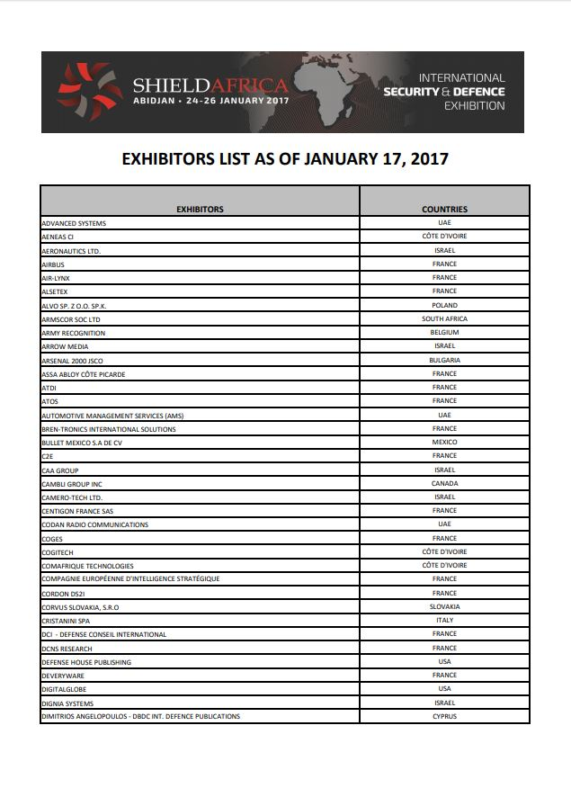 ShieldAfrica 2017_Liste exposants EN